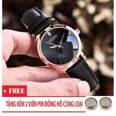 Đồng hồ Guou nữ Hàn Quốc giá rẻ (Dây Đen, Mặt Đen) + Tặng Kèm Pin Đồng Hồ