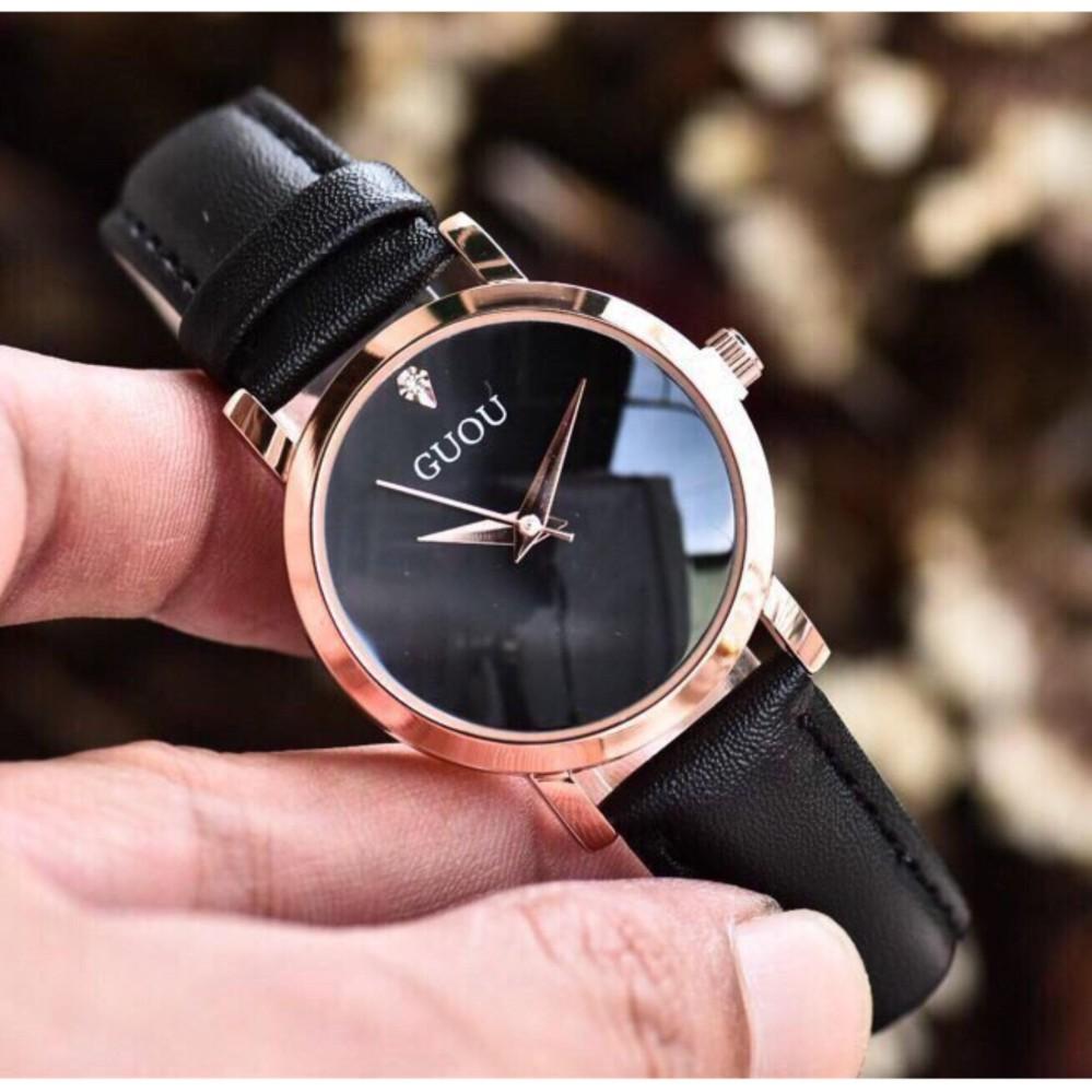 Đồng hồ Guou nữ Hàn Quốc giá rẻ (Dây Đen, Mặt Đen) – TimeZone