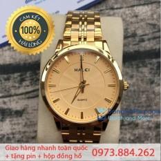 [SIÊU KHUYẾN MẠI] TẶNG PIN DỰ PHÒNG 100K- Đồng hồ Halei vạch đá vàng full- HL552M
