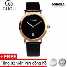 (Cập nhật 2019)Đồng hồ hàn quốc nữ dây da Guou 1001 có lịch ngày