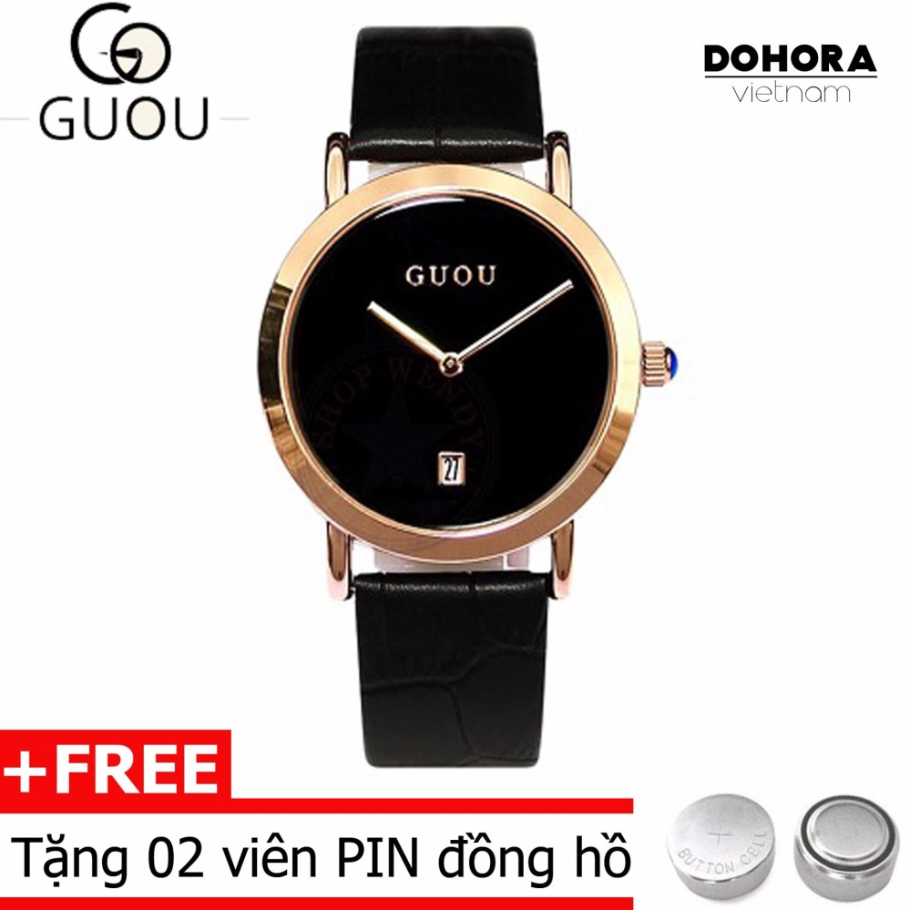 Đồng hồ hàn quốc nữ dây da Guou 1001 có lịch ngày