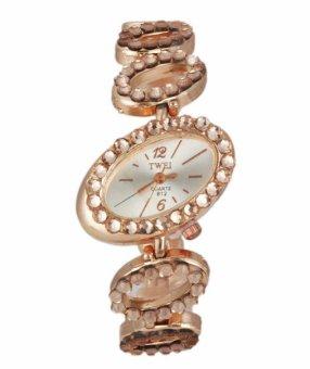 Đồng hồ lắc tay dây kim loại đính đá JW (Vàng).