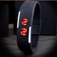 Đồng hồ LED dây nhựa kiêm vòng tay (Đen)