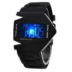 Đồng hồ Led phi thuyền 7 màu dây nhựa USS LED001 (Đen)