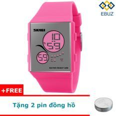 Đồng hồ led SKMEI 1169 unisex dây pu (hồng) + tặng 2 pin đồng hồ EBUZ