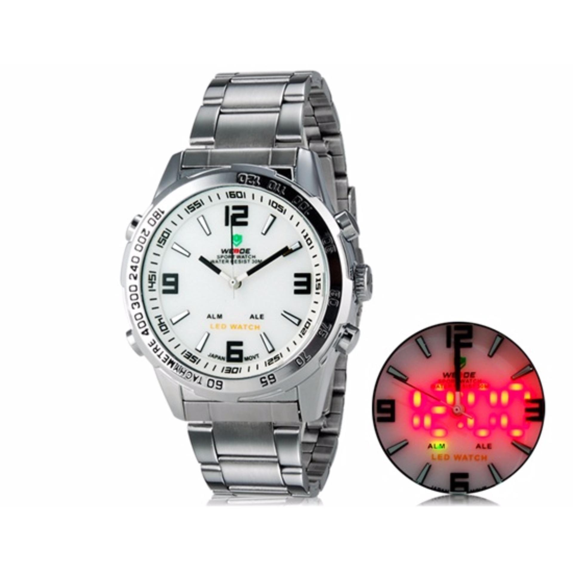 Giá Khuyến Mại Đồng hồ nam 2 mày Weide 1009 dây thép + tặng pin nhật