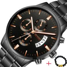 Đồng hồ nam BOSEI BSEI830 dây thép không gỉ cao cấp ( Mặt đen ) + Tặng kèm vòng tay tỳ hưu