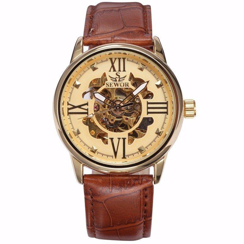 Đồng hồ nam automatic dây da nâu SEWOR OR 339 (Mặt vàng)
