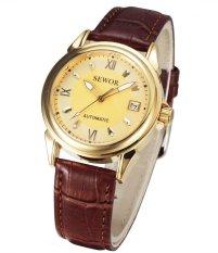 Đồng hồ nam automatic dây da SEWOR có lịch SE0002 (Mặt vàng)