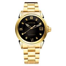 Đồng hồ nam automatic dây thép không gỉ SEWOR SED1683D (Vàng mặt đen)