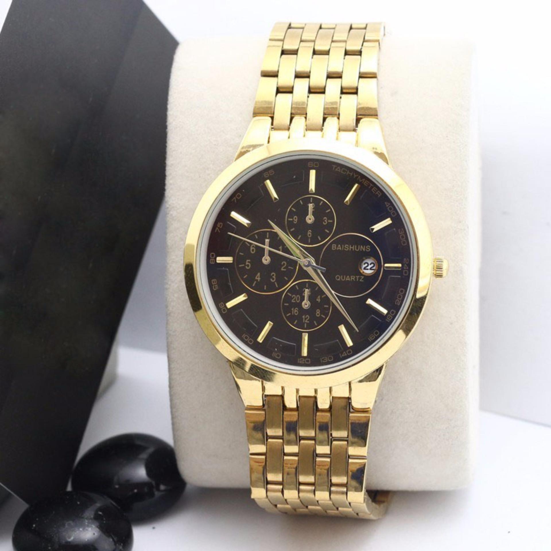 Đồng hồ nam baishuns dây vàng mặt đen