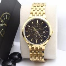 Đồng hồ nam Baishuns màu vàng mặt đen