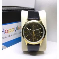 Đồng hồ nam Baishuns V6 dây da màu đen mặt đen cực men