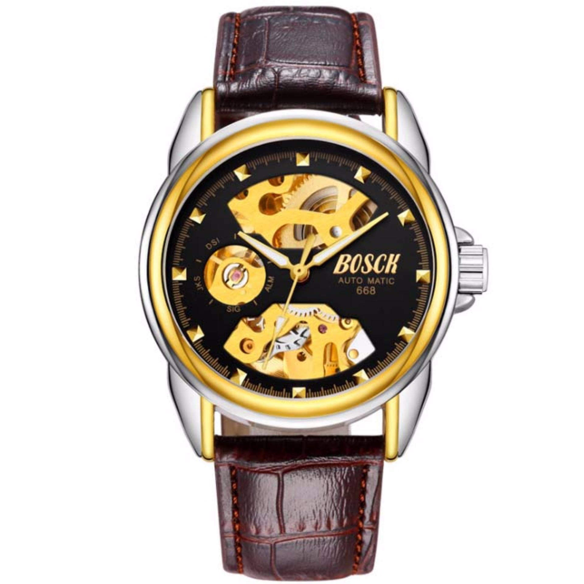 Đồng hồ nam Bosck 668 máy cơ automatic dây da (Mặt đen)