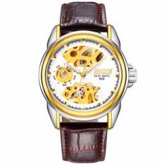 Đồng hồ nam Bosck 668 máy cơ automatic dây da (Mặt trắng)