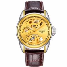 Đồng hồ nam Bosck 668 máy cơ automatic dây da (Mặt vàng)