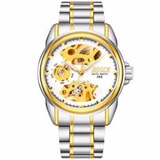 Đồng hồ nam Bosck 668 máy cơ automatic (Mặt trắng dây sọc vàng)