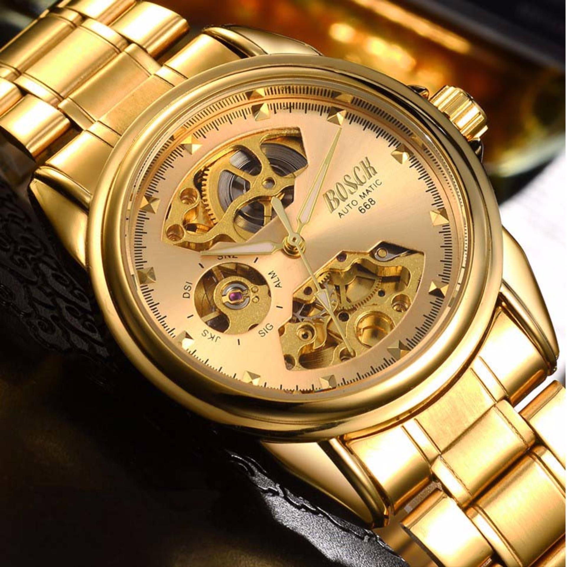 Đồng hồ nam Bosck 668 máy cơ automatic (Mặt vàng dây vàng)