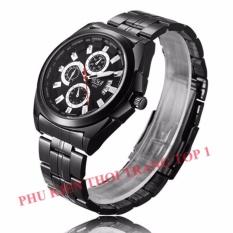 Đồng hồ nam BOSCK pkb8162 dây thép không gỉ cao cấp (full đen)