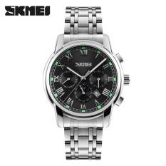 Đồng hồ nam 6 kim SKMEI thép không gỉ lịch ngày phát sáng(Dây bạc mặt đen)