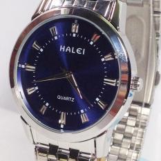 Đồng hồ nam chồng nước dây inox mặt xanh HALEI 52M1