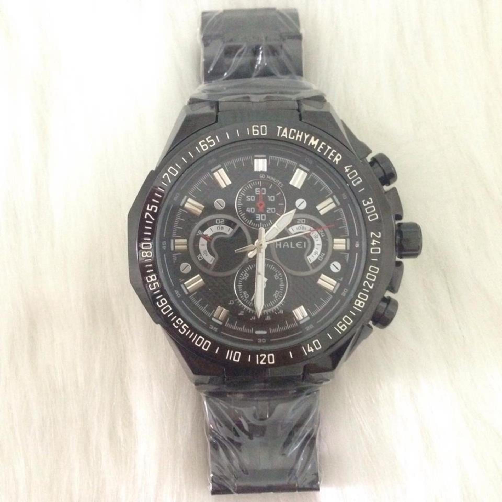 Đồng hồ nam chống nước dây thép không gỉ HALEI LUX10 full black