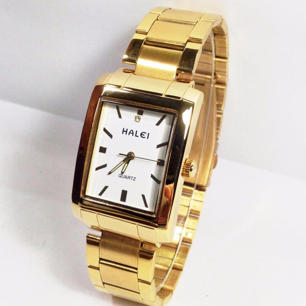 Đồng hồ nam chống nước mặt chữ nhật dây thép haleI 999