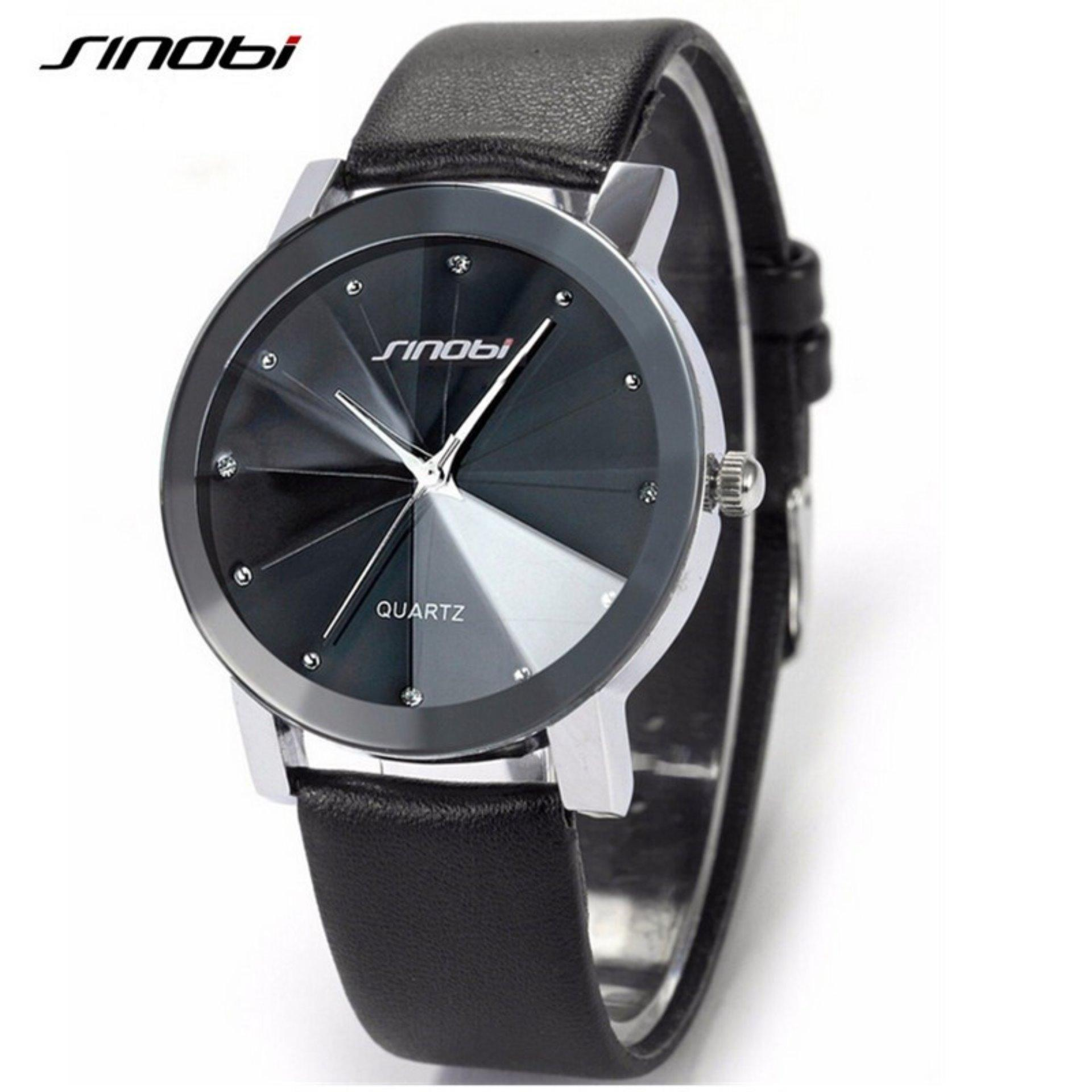 Đồng hồ nam dây da mặt 3D SINOBI MDL-SB907 đen