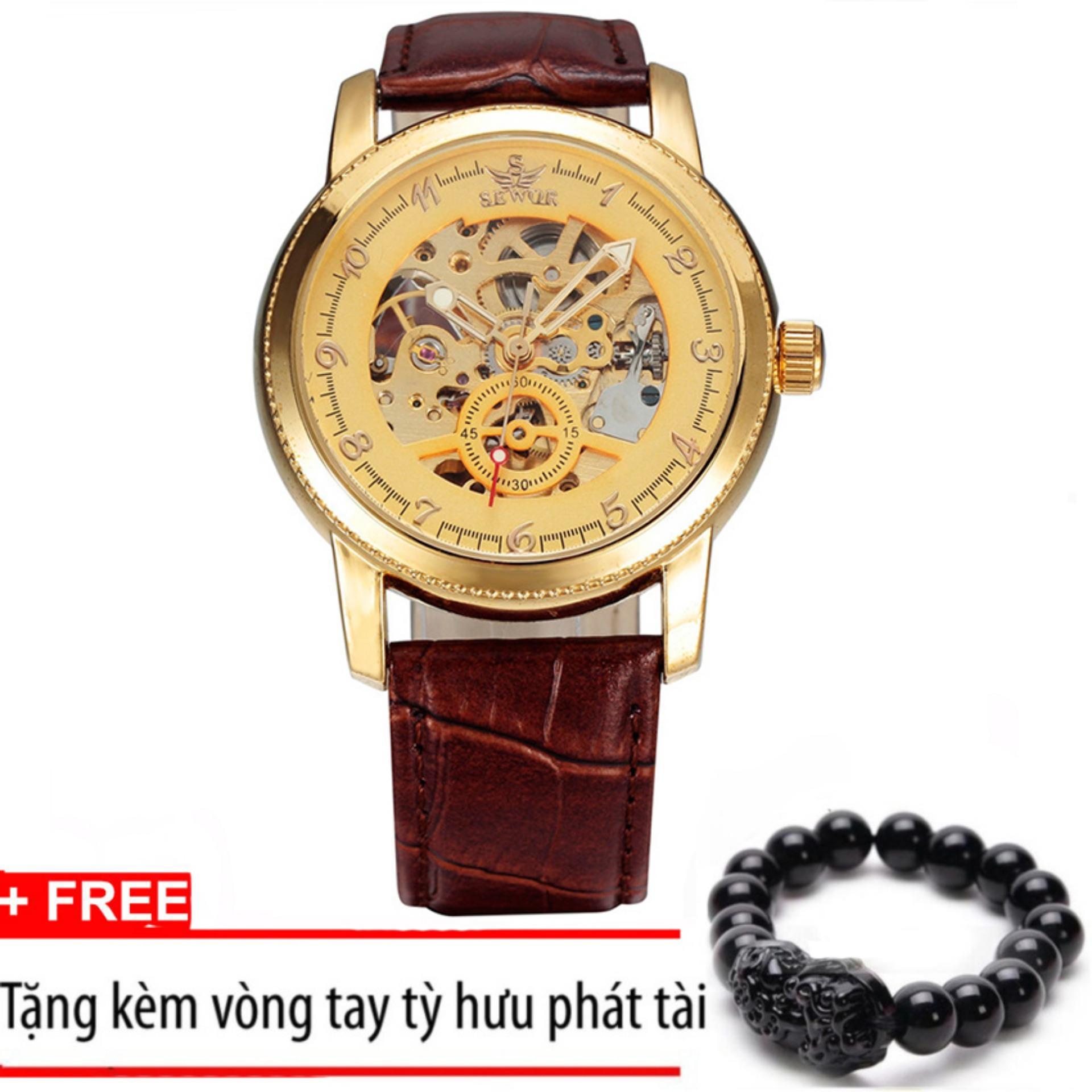 Đồng hồ nam cơ chạy tự động dây da cao cấp SEWOR T212 (Dây nâu mặt vàng) +Tặng kèm vòng tay tỳ hưu phát tài