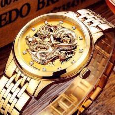 Đồng hồ nam cơ hoạ tiết rồng vàng 3D dây thép lộ máy sang trọng