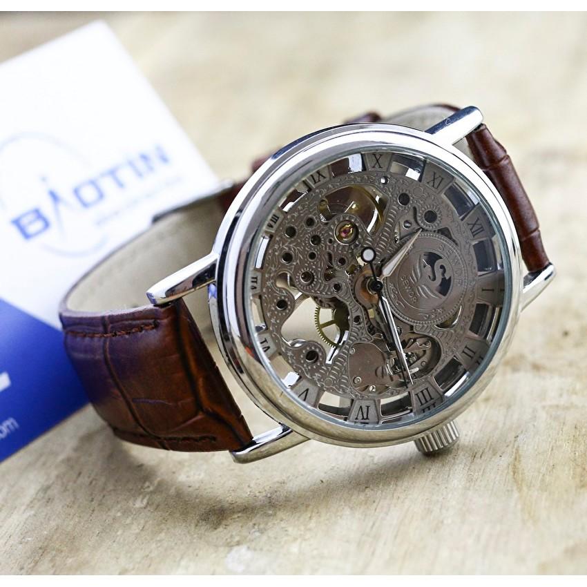 Nơi mua Đồng hồ nam cơ lộ máy dây da cao cấp SEWOR 4784 (Trắng)