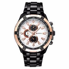 Đồng hồ nam Curren 8023 dây đen viền hồng cực men
