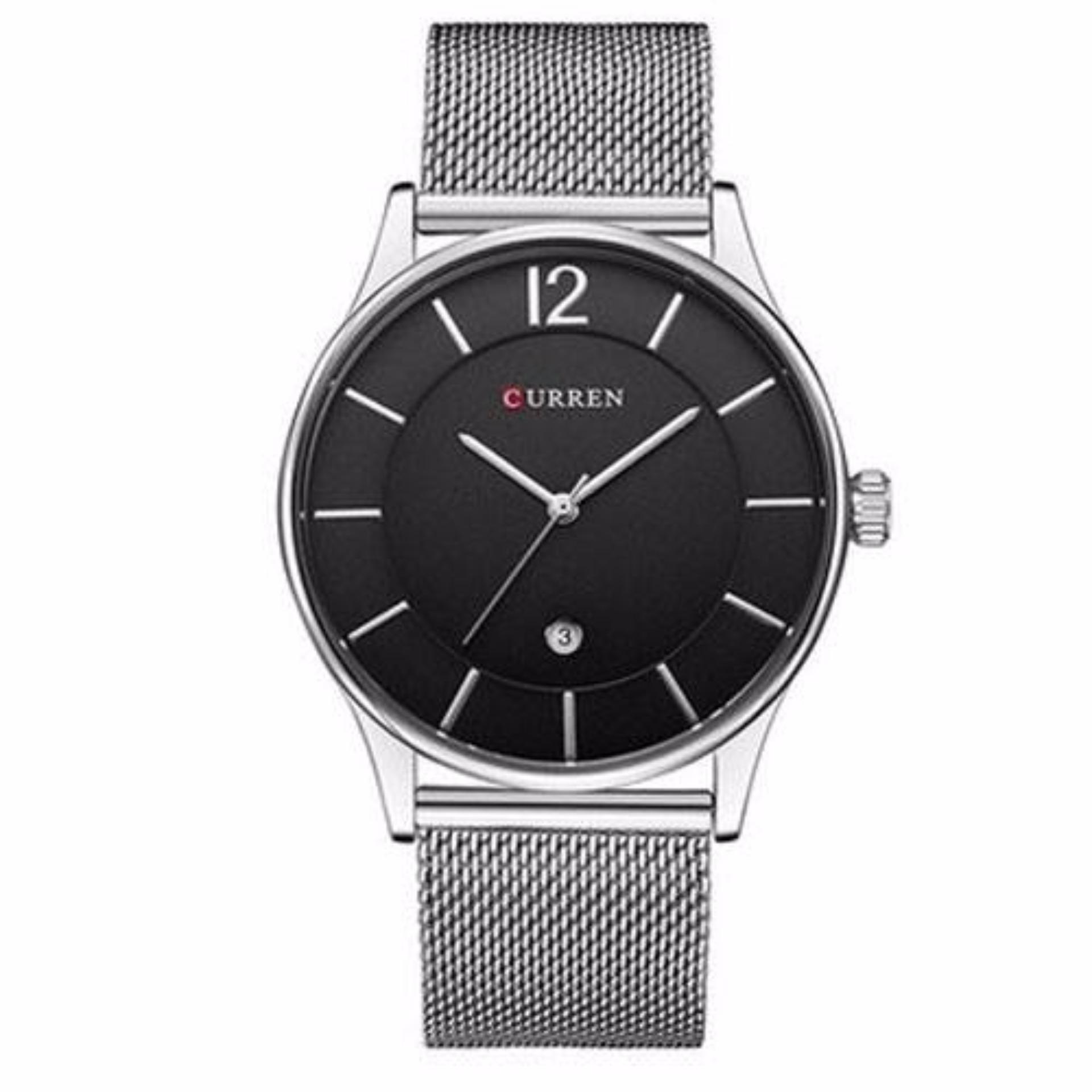 Đồng hồ nam Curren 8231 dây trắng mặt đen cực men