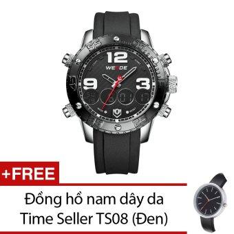 Đồng hồ nam dây cao su Weide WH3405-3C (Đen mặt đen) + Tặng 1 đồng hồ nam dây da Time Seller TS08 (Đen)  Time seller (Tp.HCM)