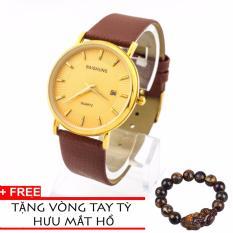 Đồng hồ nam dây da BAISHUNS BS1430 dây nâu mặt vàng
