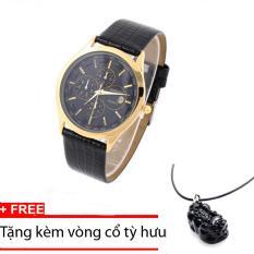 Đồng hồ nam dây da Baishuns SLBS1374 mặt đen