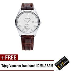 Đồng hồ nam dây da bò cao cấp Yazole S1456 (Dây nâu mặt trắng) + Tặng kèm voucher bảo hành IDMUASAM