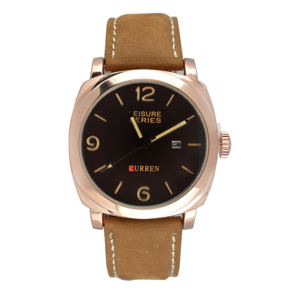 Đồng hồ nam dây da cao cấp Curren 8158 (Vàng phối nâu)