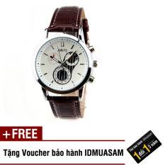 Đồng hồ nam dây da cao cấp Nary 2573 (Dây nâu mặt trắng) + Tặng kèm voucher bảo hành IDMUASAM