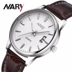 Đồng hồ nam dây da cao cấp Nary Golden (Dây Nâu, Mặt Trắng) + Tặng Kèm Hộp
