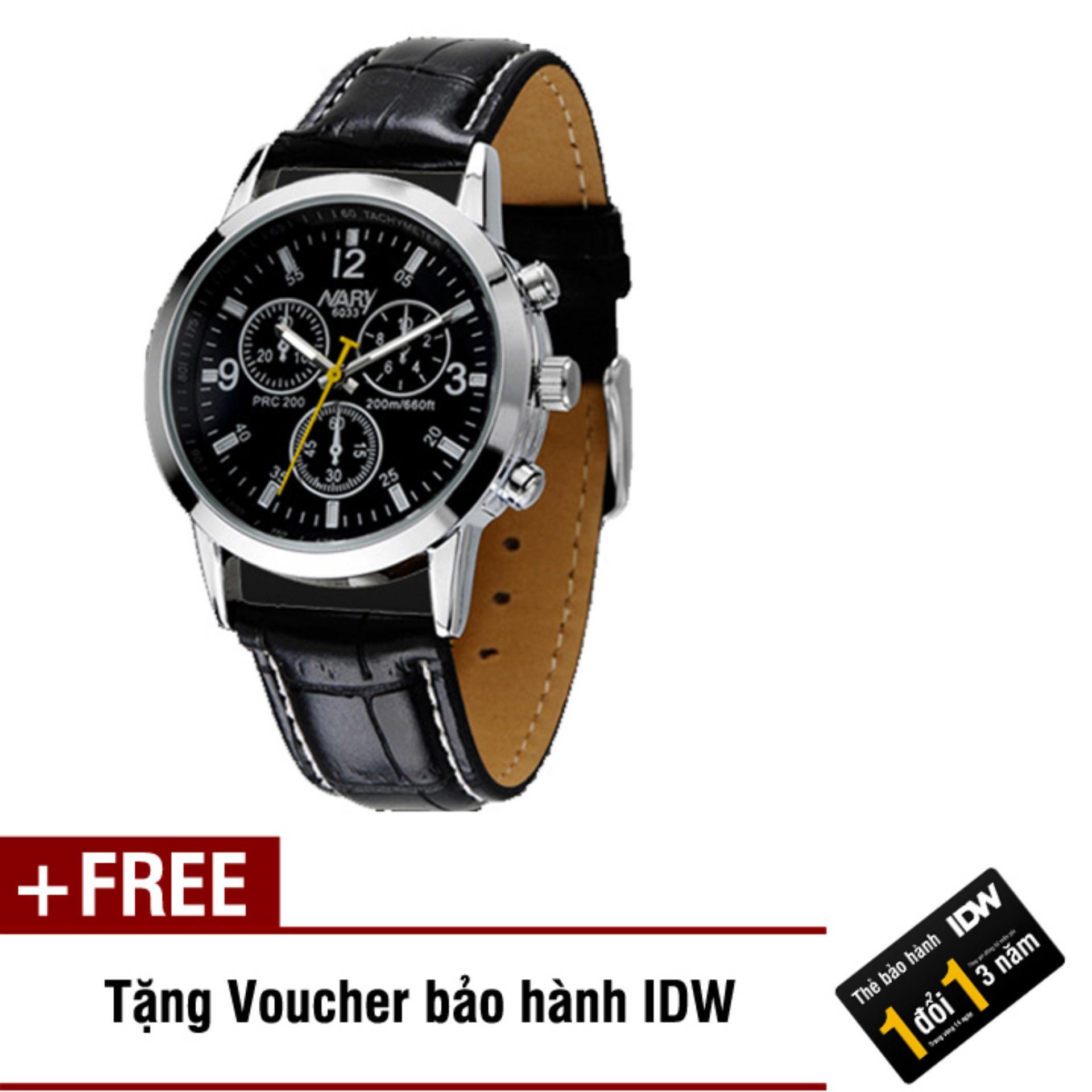 Đồng hồ nam dây da cao cấp Nary IDW 2533 (Dây đen mặt đen) + Tặng kèm voucher bảo hành IDW