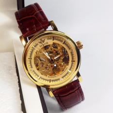 Đồng hồ nam dây da cao cấp SEWOR SW008G ( Mặt vàng )