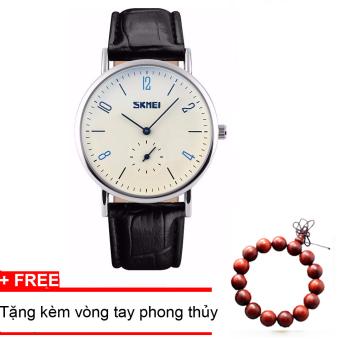 Đồng hồ nam dây da cao cấp SKMEI 9120 + Tặng kèm vòng tay phong thủy