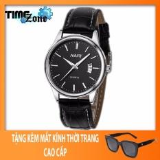 Đồng hồ nam dây da cao cấp TimeZone Nary Golden (Dây Đen, Mặt Đen) + Tặng Kèm Mắt Kính Thời Trang
