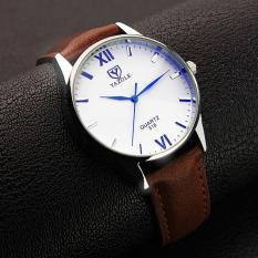 Đồng hồ nam dây da cao cấp Yazole 9514 (Dây nâu mặt trắng)