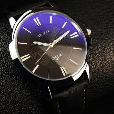 Đồng hồ nam dây da cao cấp Yazole 9531 (Dây đen mặt xanh)