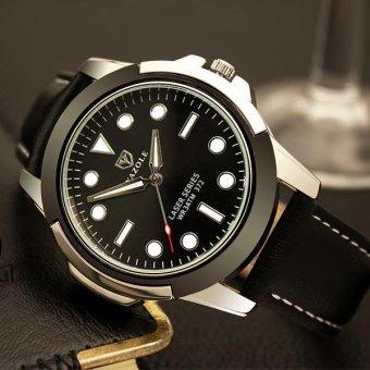 Đồng hồ nam dây da cao cấp Yazole IDW 9561 (Dây đen mặt đen)