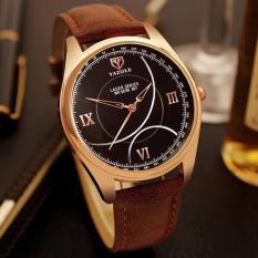 Đồng hồ nam 3H Fashion dây da cao cấp Yazole Japan Golden (Dây Nâu, Mặt Đen) + Tặng Kèm Hộp