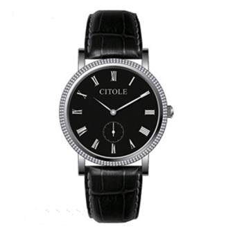 Đồng hồ nam dây da Citole CT5054GD (dây đen mặt đen)
