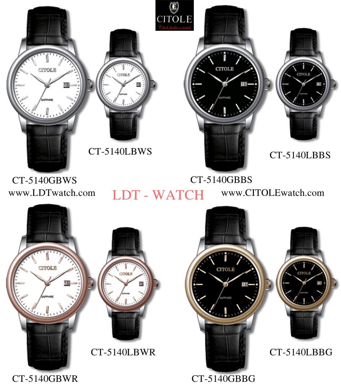 Đồng hồ nam dây da Citole CT5140GBWR (dây đen mặt trắng viền nâu)